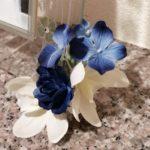 100均の造花の胡蝶蘭と朝顔のアレンジ